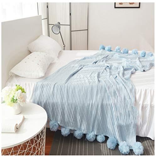 JJZXD Mantas de Pelo de Punto de algodón Mantas de Lana para Cama para Cama 5 Colores Tiro Suave Aire Acondicionado Manta Manta de Dormir Ropa de Cama (Color : A, Size : 100x105cm)