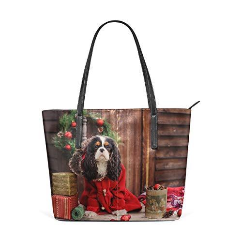 My Daily Bolso de mano para mujer Cavalier King Charles Spaniel perro de Navidad PU cuero superior asa hombro