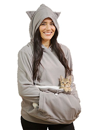 KITTYROO Cat Hoodie, The Original AS SEEN ON TV Kitty Carrying Sweatshirt, with Super Soft Kangaroo Pet Pouch (Small) Grey