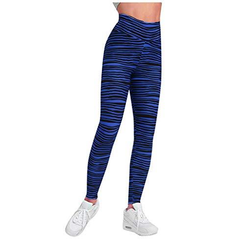 Linkay Yoga Hosen Damen Lange Sporthose Streifen Laufhose Elastisch Dehnbar Sport Leggings Frauen Fitnesshose (Blau,Small)