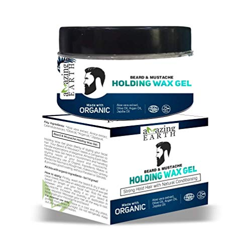 AMAzing EARTH Beard & Mustache Holding Wax Gel for Men - Certified Organic, Strong Hold, Styling, Argan Oil, Chemical Free, 100% Vegan & Cruelty Free - 50gm