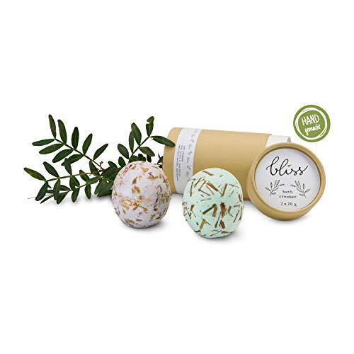 Römer Wellness Geschenk: Badekugeln Bliss, handgemacht, 2 Stück, je 70 Gramm, 1x Lavendel & 1 x Zitronengras; Maße: ca. 6,5 x 6,5 x 13 cm