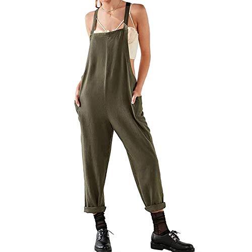 Petos de Pantalones Largo Casual para Mujer, Morbuy Verano Lino Baggy Harem Mono Suelto Moda Bolsillos...
