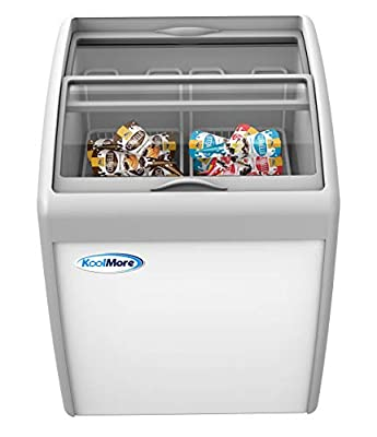 KoolMore Commercial Ice Cream Freezer Display Case, Glass Top Chest Freezer with 2 Storage Baskets and Clear, Sliding Lid, 5.7 cu. ft. Capacity