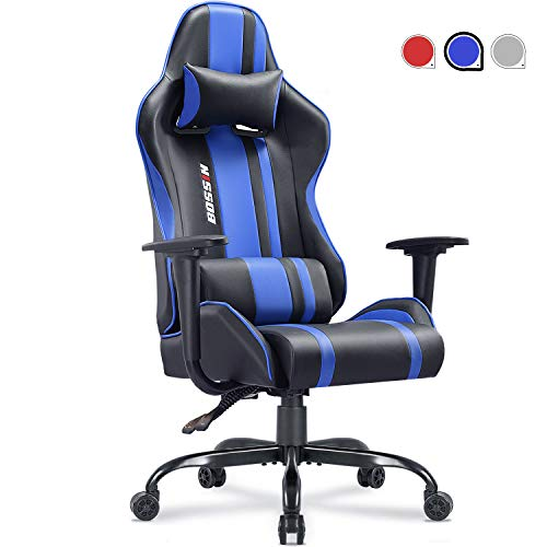 Gaming Chair Racing Style Office Chair Adjustable Height Chair Ergonomics High-Back Chair PU Leather Gaming Chair Swivel PC Computer Chair with Headrest and Lumbar Support(Blue) blue chair gaming