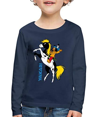 Yakari Pferd Kleiner Donner Steigt Kinder Premium Langarmshirt, 110/116 (4 Jahre), Navy