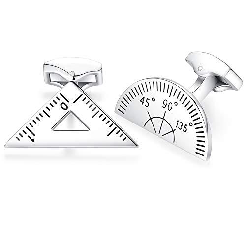 HONEY BEAR Maths Protractor Ruler Cufflinks - Stainless Steel For Mens Shirt Wedding Business Gift,Silver