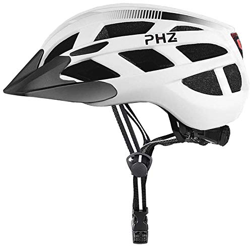 PHZ. Adult Bike Helmet CPSC Certified with Rechargeable USB Light BicycleHelmet Men Women Road Cycling & Mountain Biking with Detachable Visor (White, Large)