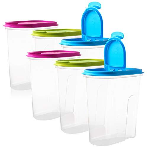 6 Vorratsdosen Schüttdosen Set mit Klappdeckeln, 6 Stück, 2 Liter, 100% recyclebar ideale Größe z.B. als Müslispender, für Cornflakes oder Vorratsbehälter, Made in EU.