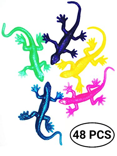 UpBrands 48 Pack Super Stretchy Lizards Toys 2 1/2 Inches Bulk Set 8 Glitter Colors Kit for Birthday Party Favors for Kids Goodie Bags Easter Egg Basket Stuffers Pinata Filler Classroom Prizes
