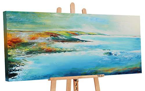 YS-Art | Cuadro Pintado a Mano Costa Azul | Cuadro Moderno acrilico | 115x50 cm | Lienzo Pintado a Mano | Cuadros Dormitories | único | Azul