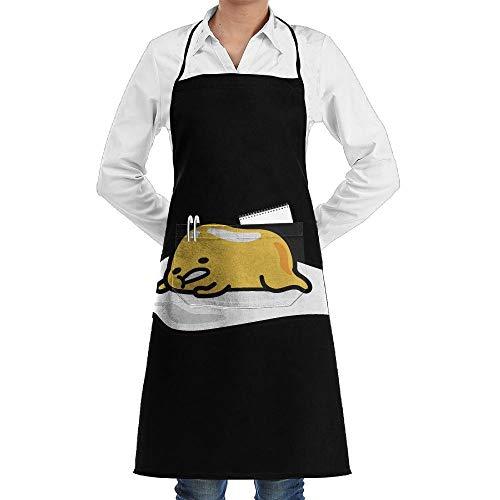 Delantal de yema de huevo de dibujos animados de encaje para adultos para hombres y mujeres Chef ajustable poliéster largo completo negro cocina delantales de cocina babero