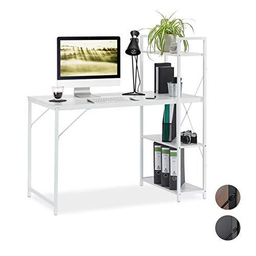 Relaxdays Schreibtisch, Kombination mit Regal, 4 Ablagefächer, für Jugendzimmer & Büro, HBT: 121 x 120 x 62 cm, weiß, PB, Metall