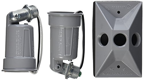 Rectangular Weatherproof Combination Cover for 75-150W Par 38 Lamps, Includes 2 Lampholders, Gasket, and Hardware, Gray