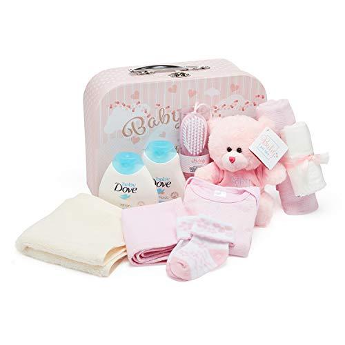 Baby Box Shop Baby Gift Set - Contiene ropa de bebé, artículos esenciales para recién nacidos y osito de peluche rosa