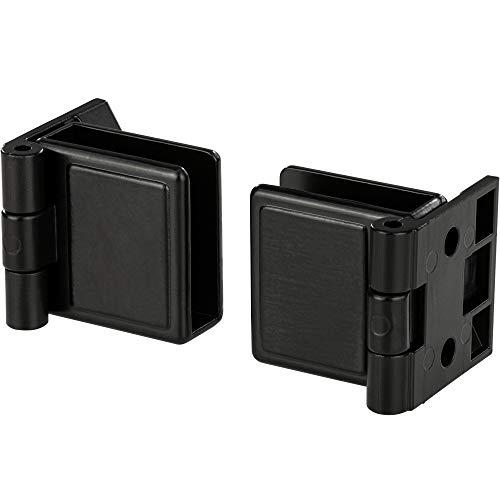 Gedotec Glastürscharnier Innenanschlag Möbelband ohne Glas-Bohrung - H5250 | Metall schwarz matt | Glastürband für Glas & Holz-Montage | 1 Paar - Design Möbel-Scharnier 170° für Glastüren & Vitrinen