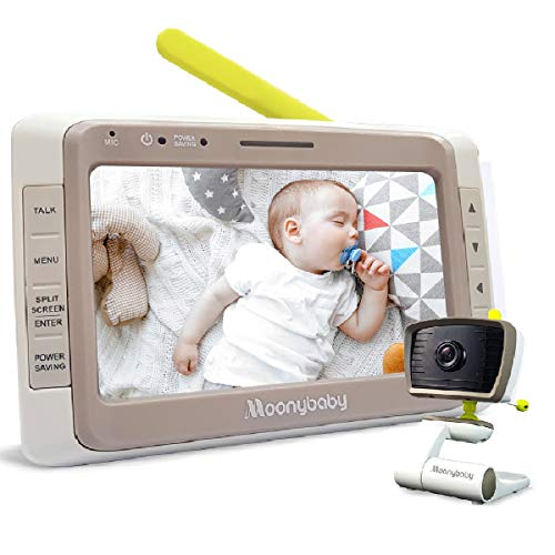 Moonybaby WideView 50 Baby Monitor with Camera and Audio, Non-Wifi, 5 Inches Large Display, Screen Split, Auto Night Vision and Zoom, Sound Activated, Temperature Alert, 2-Way Talk, Range up to 1000ft