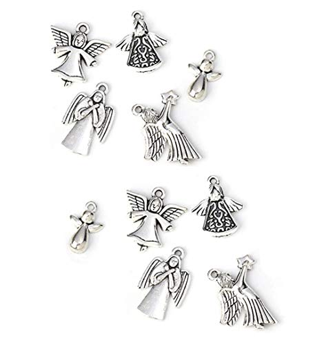JGFinds Angel Charm Silver Toned Mixed Pendant Lot - 10 Total, 2 of Each, DIY Jewelry Making Supplies