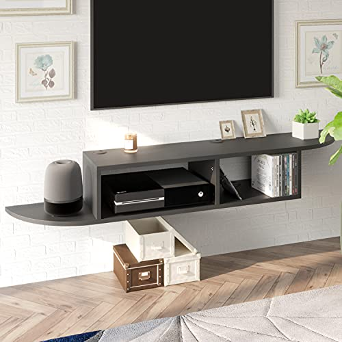 """Floating TV Stand Entertainment Center TV Shelf, Modern Wall Mounted TV Console for Cable Box/Xbox One, 55"""" Media Console Floating Shelf for Under TV (Black)"""
