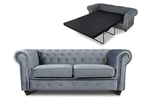 Schlafsofa Chesterfield Asti Bis 2-Sitzer, Sofa mit Schlaffunktion, Couch 2-er, Couchgarnitur, Sofagarnitur, Holzfüße, Glamour (Grau (Velvet 10))