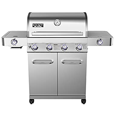 4-Burner Propane Gas Grill in Stainless with LED Controls, Side and Side Sear Burners