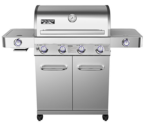 Monument Grills 24367 Stainless Steel 4 Burner Propane Gas Grill w/Side Sear Burners