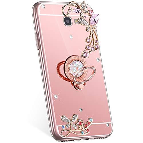 Jinghuash Compatible con Samsung Galaxy J7 Prime 2016 Carcasa Espejo con Anillo Redondo Soporte Brillante Mariposa Flor Diamante Strass Fino Suave TPU Silicona Teléfono Móvil Carcasa Oro Rosa