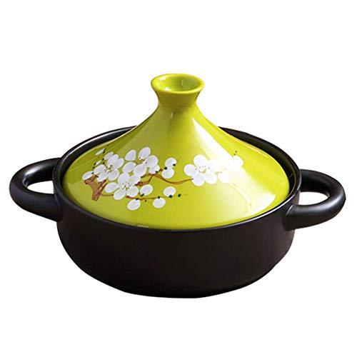 DGHJK Olla de 20 cm Hecha a Mano y Pintada a Mano, Utensilios de Cocina de cerámica para el hogar, estofado sin Plomo, Olla de cocción Lenta 1.5L C.