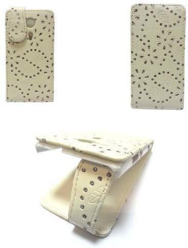 GADGET BOXX BLING DIAMANT GLITZER FLIP PU LEDER TASCHE SCHUTZHÜLLE IN WEISS FÜR SONY XPERIA SP M35H C5302