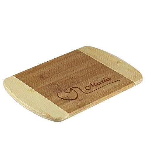 polar-effekt Frühstücksbrettchen aus Bambus mit Gravur - Personalisiert mit Namen - Schneidebrett als Geschenk 26 x 17 cm - Motiv Herz mit Schwung