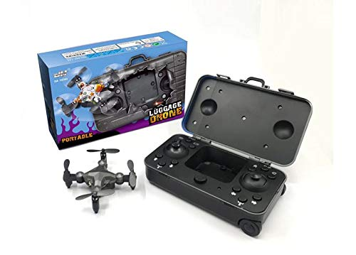 Foldable Mini Suitcase Drone with HD Camera - 360 Degrees Rotation Unmanned Aerial Vehicle Pocket Drones Four-Axis Aircraft with Camera for Kids (Gray)