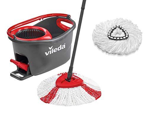 Vileda EasyWring & Clean Komplettset + Classic Ersatzkopf Turbo Box, rot/schwarz/weiß, Set