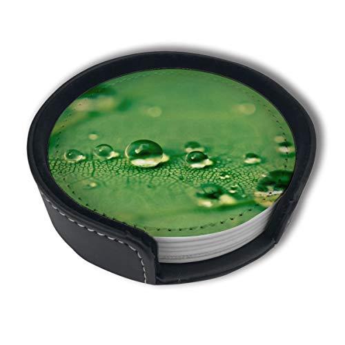 BJAMAJ Green Tree Leaf Water Drops Premium PU Leder Untersetzer Getränke-Runde Untersetzer mit Halter-Sets, geeignet für Zuhause und Küche, 6 Stück