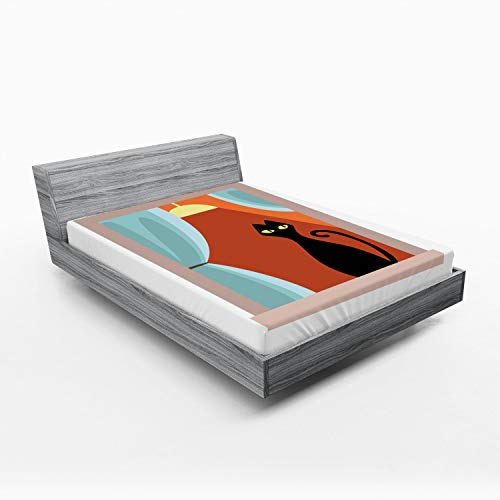 Ambesonne Modern Fitted Sheet, Domestic Grumpy Kitty Looking from The Flat's Windowsill Cartoon Drawing Cat Art, Bed Cover with All-Round Elastic Pocket for Comfort, California King, Multicolor