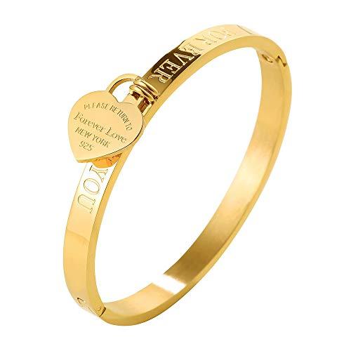 JINHUI Thanksgiving Day Gift Jewelry 18 K Rose Gold/Gold Bangle Bracelet Heart Pendant...