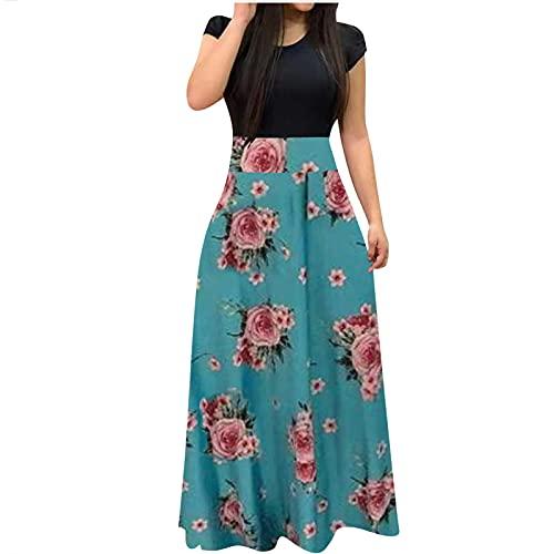 pamkyaemi Sommerkleid Damen Lang Maxi Kleider Kurzarm Kleider O-Hals Kaftan Plus Size Kleid Lang Strandkleid Freizeit Kleid Sommer Damen Elegant High Waist Boho Blumendruck Kleider