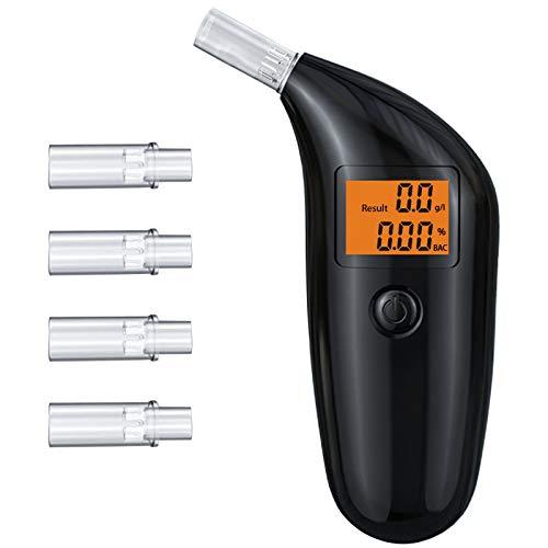 TUT Alcoholimetro, Alcoholímetro Profesional y Portátil con Tecnología de Sensor de Semiconductores de Precisión,Pantalla LCD Digital y 5 Boquillas