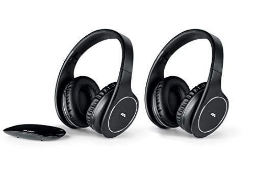 Meliconi Hp Easy Digital Bundle, 2 Cuffie Tv Stereo Senza Fili, 100% Digitali, con Ingresso Audio Analogico/Digitale e Base Trasmittente di Dimensioni Ridotte, Taglia Unica, Nero