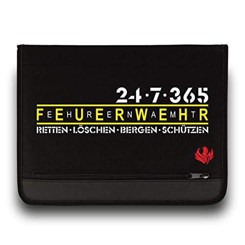 Roter Hahn 112 Feuerwehr Schreibmappe SM-M00003 Organizer Konferenzmappe Gelb-Weiss