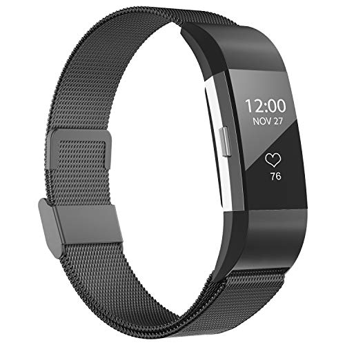 iGK Replacement Bands Compatible for Charge 2, Stainless Steel Metal Bracelet with Unique Magnet Clasp Black Large