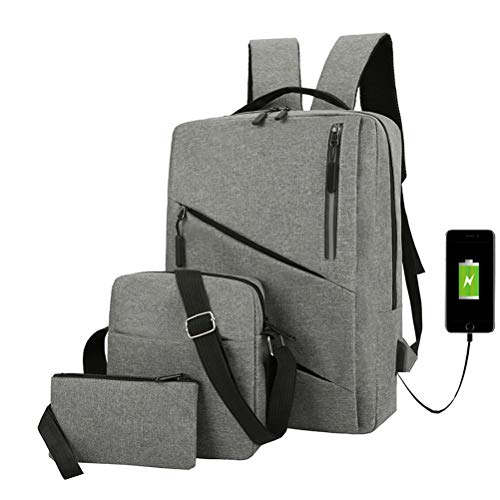 Laptop Backpack Three-Piece Satchel and Pencil Case,15.6 Inch Business Travel Backpack Bag with USB Charging Port, Water Resistant College School Computer Backpack for Boys and Girls (Gray)
