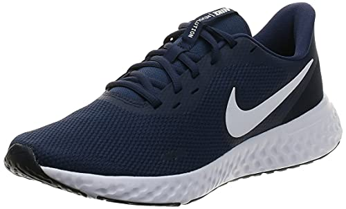NIKE Revolution 5, Zapatillas de Correr Hombre, Midnight Navy/White/Dark Obsidian, 42 EU