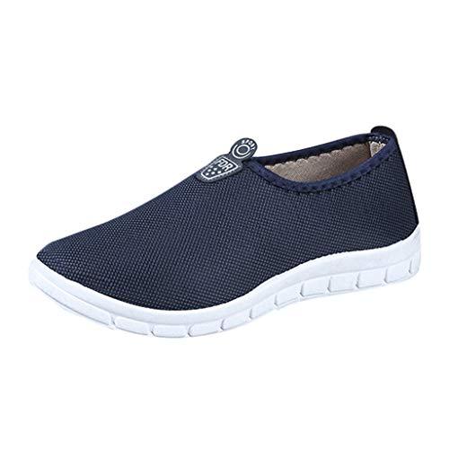 Alwayswin Damen Herren Mesh Sneakers Flach Baumwolle Turnschuhe Lässig Atmungsaktive Laufschuhe Slip-On Weiche Walking Schuhe Freizeitschuhe Leichte Outdoor Slipper