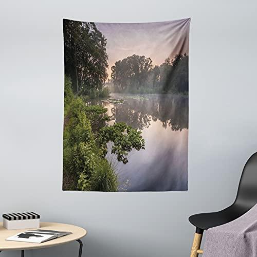 ABAKUHAUS Wald Wandteppich & Tagesdecke, See Natura Niederlande, aus Weiches Mikrofaser Stoff Dreck abweichender Digitaldruck, 110 x 150 cm, grüne Purplegrey