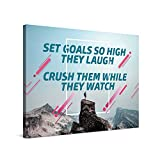 Picanova – Set Goals 100x75 cm – Cuadro sobre Lienzo – Impresión En Lienzo Montado sobre Marco De Madera (2cm) – Disponible En Varios Tamaños – Fotomural Quote Designs