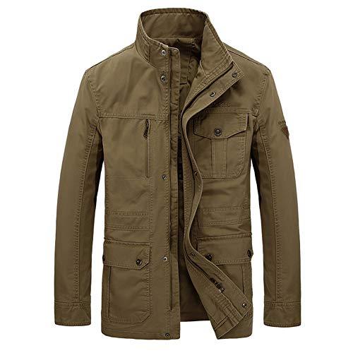 FWJ-clothes Herren Winter Baumwolle Jacken Casual Outdoor Full Zip Mantel Lose Arbeitskleidung Jacke Stehkragen Jacke,Khaki,7XL