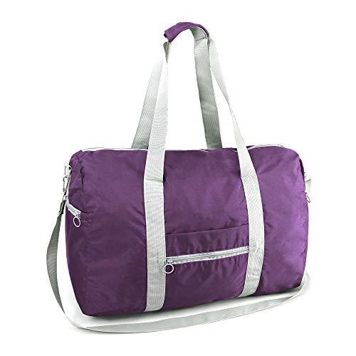Collapsible Large Duffle Overnight Weekend Carry-On Duffle 50LBS Heavy Duty Oxford Luggage Bags Zipper Closure Light Weight Foldable Traveling Hiking Gym Sports Light Purple for Men Women