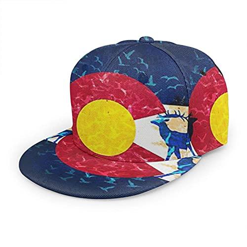 Oaieltj Gorra de béisbol unisex para mujer y hombre, ajustable, con visera plana, sombrero de hip hop, Colorado State Flag Moose, Talla única