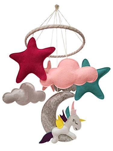 Mobile für Babyzimmer Baby Mobile aus Filz 0 bis 12 Monate für Junge und Mädchen Deko für Kinderzimmer Mobile zum Aufhängen über dem Babybett Filz Mobile
