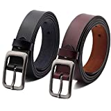 VIVOCH, Set of 2 Women's Genuine Cowhide Leather Belt, Vintage Casual Belts for Jeans, Skirt, Shorts Pants, Summer Dress for Women with Alloy Pin Buckle, 120CM
